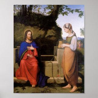 Christus und die Samariterin Poster