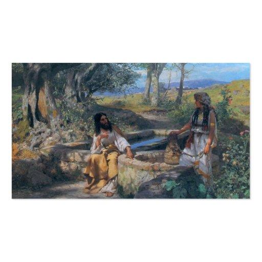 Christus- und Samariterfrau circa 1890 Visitenkarte