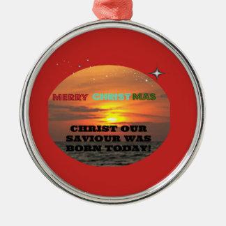 Christus unser Retter war heute geboren Silbernes Ornament