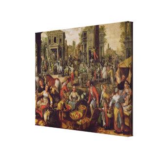 Christus zeigte zu den Leuten an Galerie Faltleinwand