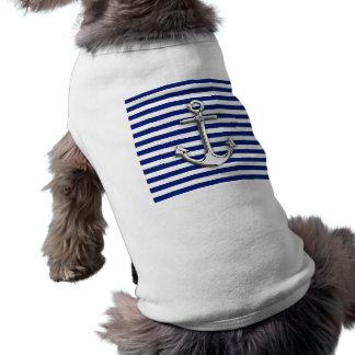 Chrom-Anker auf Marine-Streifen Shirt