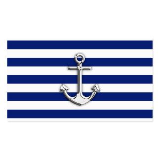 Chrom-Anker auf Marine-Streifen Visitenkarte
