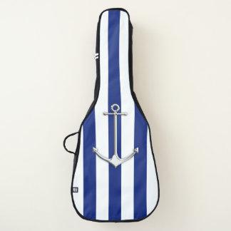 Chrom-Anker auf Seemarine-blaue Streifen-Druck Gitarrentasche