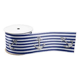 Chrom-Anker auf Seemarine-blaue Streifen-Druck Satinband