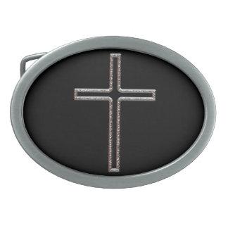 Chrom-Kruzifix-Höhle Ovale Gürtelschnalle