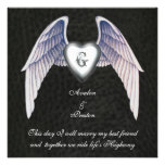 Chrom-u. Imitat-Leder Winged Herz-Einladung