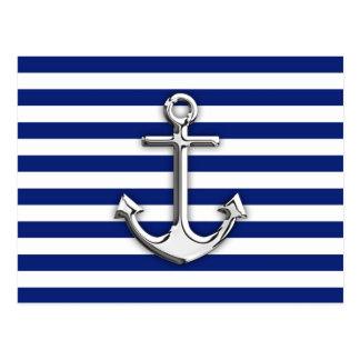 Chrom wie Anker-Entwurf auf Marine-Streifen Postkarte