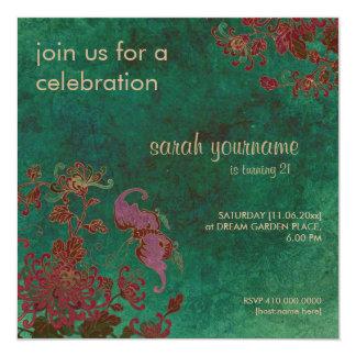 Chrysantheme-Garten-Geburtstags-Einladung Quadratische 13,3 Cm Einladungskarte