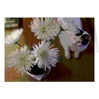 Chrysanthemekatzenglück-Anmerkungskarte Karte