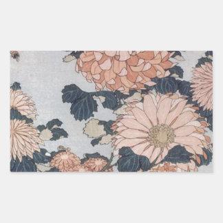 Chrysanthemen und Bremse durch Katsushika Hokusai Rechteckiger Aufkleber