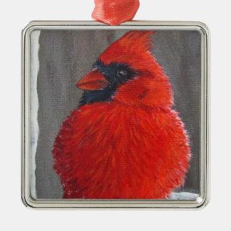 Chubby Kardinal - Verzierung Silbernes Ornament