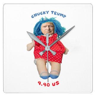 Chucky Donald Trump Puppe Quadratische Wanduhr