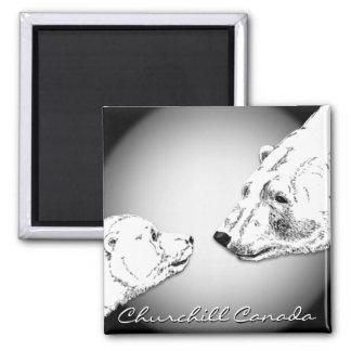 Churchill Andenken-Eisbär-Kunst-Magneten u. Quadratischer Magnet