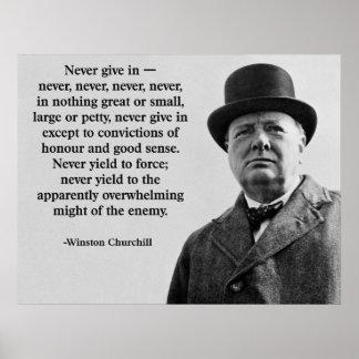 Churchill geben nie nach poster