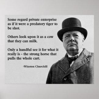 Churchill Unternehmungsfreiheits-Zitat Poster