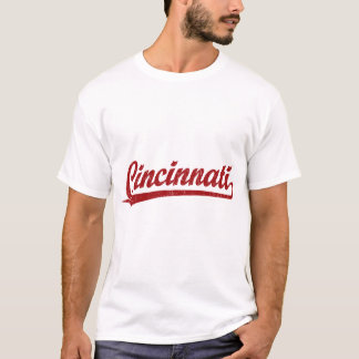 Cincinnati-Skriptlogo im Rot T-Shirt