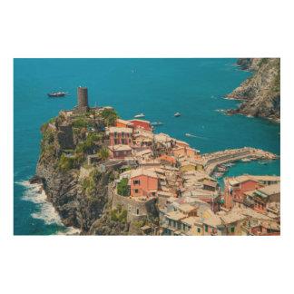 Cinque Terre in Italien Holzdruck