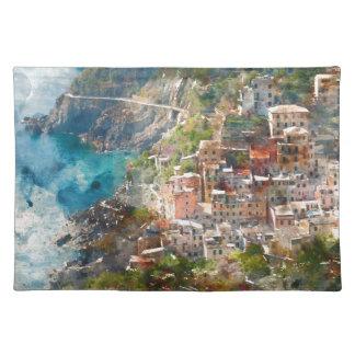 Cinque Terre Italien Ferien-Bestimmungsort Stofftischset