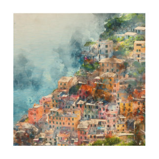 Cinque Terre Italien im italienischen Riviera Holzdruck
