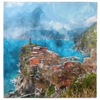 Cinque Terre Italien im italienischen Riviera Stoffserviette