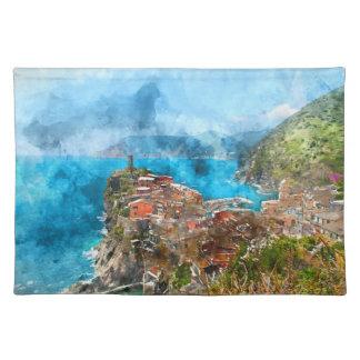 Cinque Terre Italien im italienischen Riviera Stofftischset