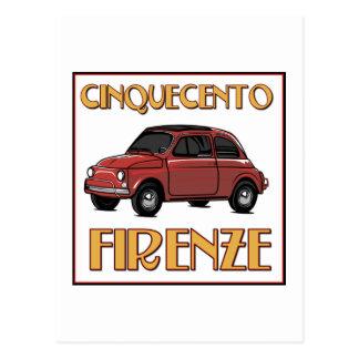 Cinquecento Firenze - Postkarte Fiats 500 Florenz
