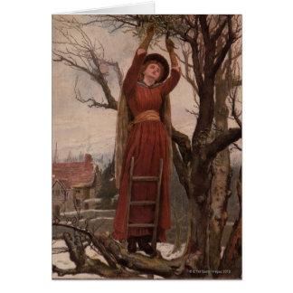 Circa 1820: Eine junge Frau schneidet Mistelzweig Karte
