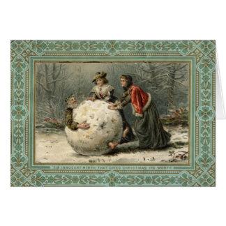 Circa 1879: Mann mit zwei Frauen Rollenim Schnee Karte