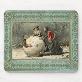 Circa 1879: Mann mit zwei Frauen Rollenim Schnee Mauspad