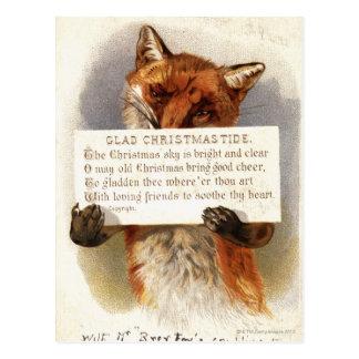 Circa 1900: Ein Fuchs hält einen WeihnachtsVers Postkarte