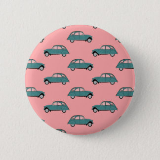 Citroen 2CVs - Grün auf Rosa - Autos Runder Button 5,7 Cm