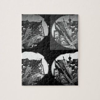 city 3 point perspective black & white puzzle