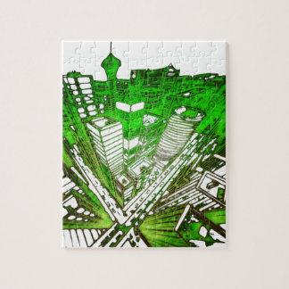 city in 3 point perspective special version green puzzle