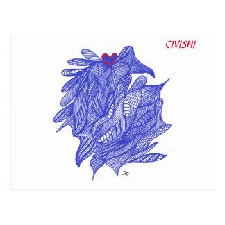 Civishi #294 Blau - abstraktes Herz in der Postkarte