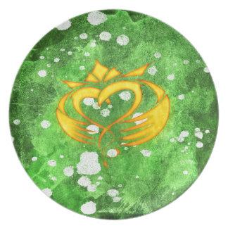Claddagh irischer keltischer Spritzer Melaminteller