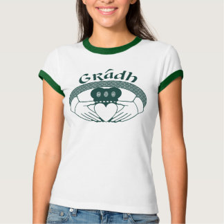 Claddagh Ring-Liebe Gradh Gälisch im Grün T-Shirt