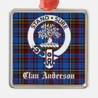 Clan-Andersontartan-Wappen Silbernes Ornament