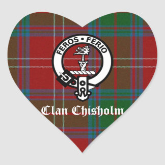 Clan Chisholm Tartan u. Wappen-Abzeichen Herz-Aufkleber