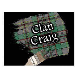 Clan-Craig schottischer Tartan-Pinsel Postkarte