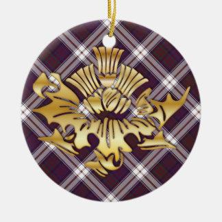 Clan MacDonald Tartanu. Imitat-Goldscottish-Distel Rundes Keramik Ornament