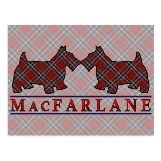 Clan MacFarlane Tartanscottie-Hunde Postkarte
