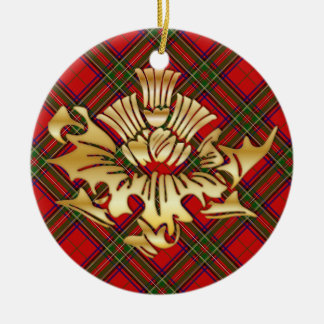 Clan-StewartTartanu. Imitat-Goldscottish-Disteln Rundes Keramik Ornament