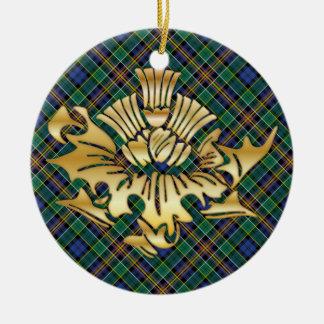 ClanAllisonTartanu. Imitat-Goldscottish-Disteln Rundes Keramik Ornament