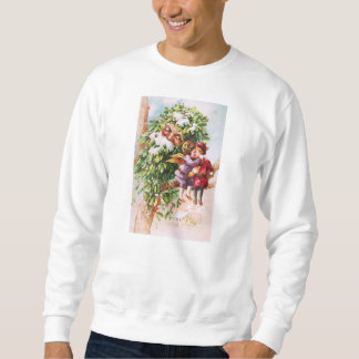 Clapsaddle: Mistelzweig-Vater mit Engeln Sweatshirt