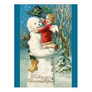 Clapsaddle: Schneemann mit Engels-Mädchen Postkarte