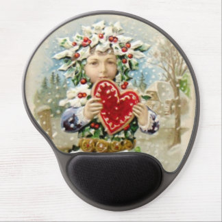 Clapsaddle: Stechpalmen-Junge mit Herzen Gel Mousepad