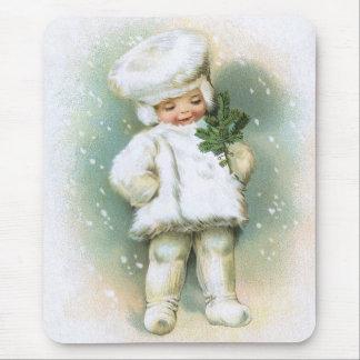 Clapsaddle: Winter-Junge mit dem Tannen-Zweig Mousepads
