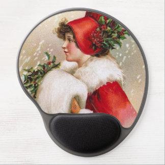Clapsaddle: Winter-Mädchen mit Stechpalmen-Hut Gel Mouse Matten