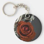 Clarinet und Rote Rose Keychain Schlüsselbänder