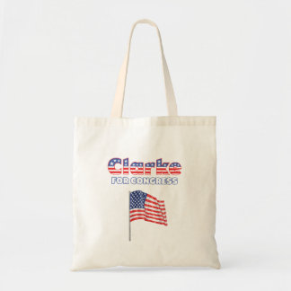 Clarke für Kongress-patriotische amerikanische Fla Budget Stoffbeutel